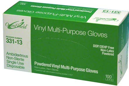 Omni OmniShield Multi-Purpose, Powder Free, Vinyl Gloves Large, 3.5 MIL. 332-13 1,000 per case - Powder Purpose Multi
