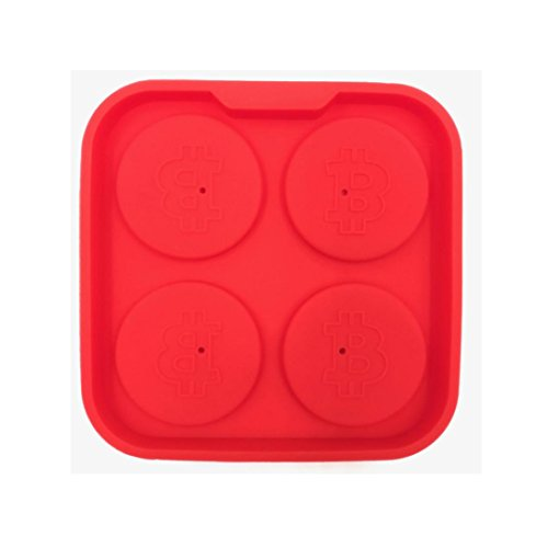 Silicone Bitcoin Ice lattice Maker - 1111CM - Withy Flexible Ice 4 Cubes Mold Tray For Truffle Rhum//Food Storage//Whisky//Beer//Jelly (Red)