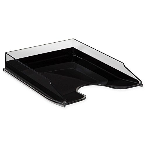 HomeCrate Modern Desk Organizer Stackable Letter Tray - Clear/Black by HomeCrate