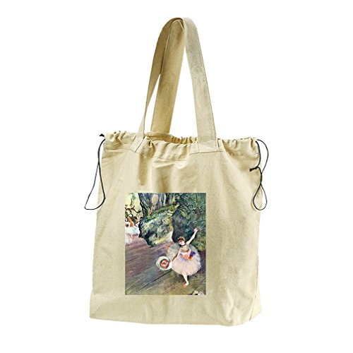 Dancer Bouquet Flowers Star Ballet (Degas) Canvas Drawstring Beach Tote Bag (Degas Bag Ballet)