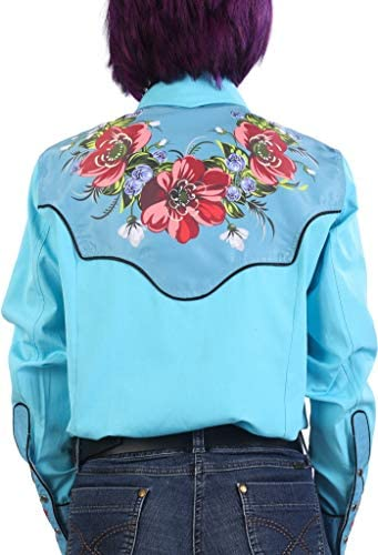 Last Rebels Country Western Shirt Women Turquoise Flowers