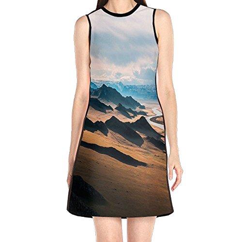 - MONILO Prairie Highway Landscape Women's Fashion Sleeveless Mini Dress Print Party Dress Tank Dress