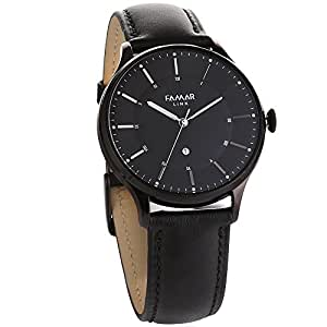 Famar Black leather Hybrid Smart watch L12D21A -Night Black Color