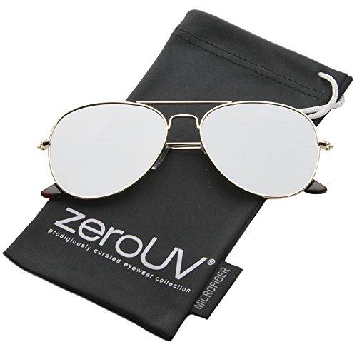 zeroUV - Classic Double Bridge Colored Mirror Flat Lens Aviator Sunglasses 55mm (Gold / Silver - Optics Lens Flat