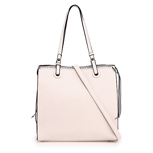 Handbag Handbag Beige Look Unique Shoulder Designer Design Large Style Bag 2 Front New Zipper For Leather Design Gorgeous Faux Ladies Women 7qYBTw