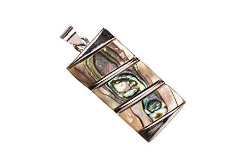 (Slope Design Abalone Shell Pendant With Silver-Plated Copper Bail 17x32x4.5mm)