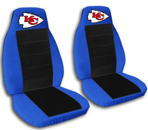2 Medium Blue and Black Kansas City seat covers for a 2007 to 2012 Chevrolet Silverado. Side airbag friendly. by Designcovers