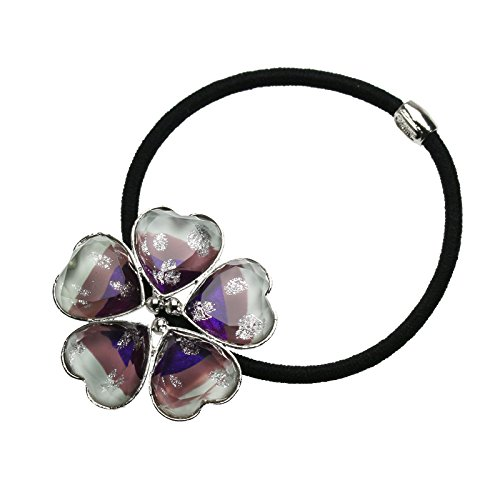 Tamarusan Ponytail Holder Purple Gradient Rainbow Flower Hair Rubber Heart Silver Lame by TAMARUSAN