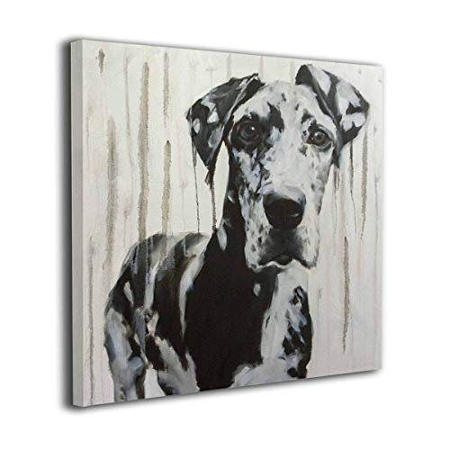 Hobson Reginald Canvas Wall Art Prints Large Black and White Harlequin Great Dane Dripped -Photo Paintings Modern Home Decoration Giclee Artwork-Wood Frame Gallery Wrapped (24