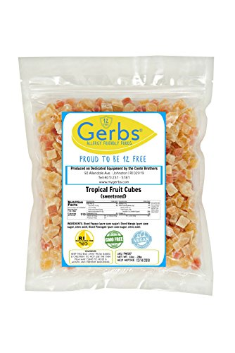 Tropical Fruit Mix Cubed, 2 LBS By Gerbs - Top 12 Food Allergy Free & NON GMO Sulfur Dioxide & Preservative Free - Diced Mango, Pineapple, Papaya Sweetened
