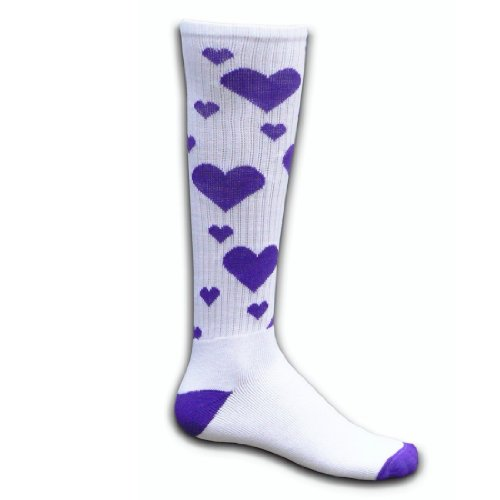 Red Lion Hearts Knee High Socks (White / Purple - Small) (Pink Heart Socks White)