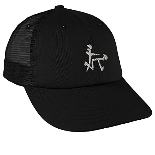 Chinese Symbol for Sex Funny Silver Sew Low Crown Mesh Golf Snapback Hat Black -
