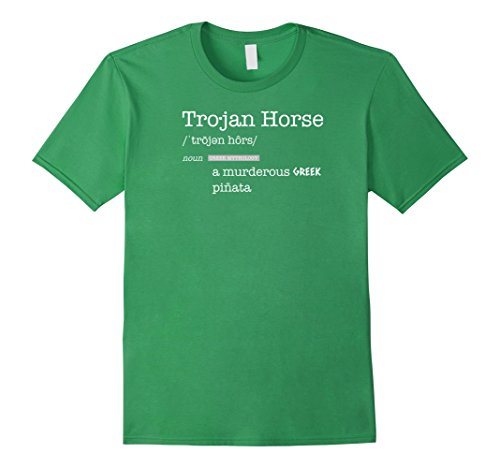 Mens Trojan Horse; Murderous Greek Pinata T-Shirt Small Grass