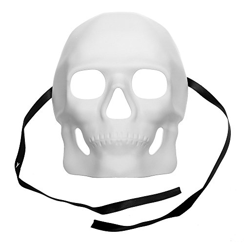 ILOVEMASKS Skull Halloween Venetian Masquerade Full Face Mask - White ()