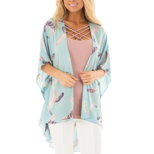 YJYdada Women Floral Print Beach Loose Shawl Kimono Cardigan Top Cover Blouse (M) - Abercrombie Womens Shirt