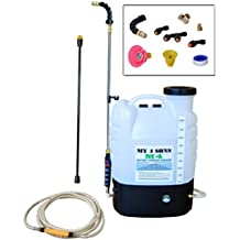4-Gallon Battery Powered Backpack Sprayer Wide Mouth With STEEL WAND and BRASS NOZZLE with 15FT EXTENDED HOSE AND CONNECTOR