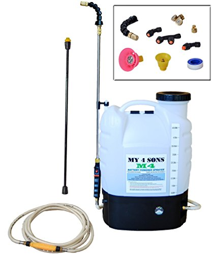 My 4 Sons 4-Gallon Battery Powered Backpack Sprayer Wide Mouth With STEEL WAND and...