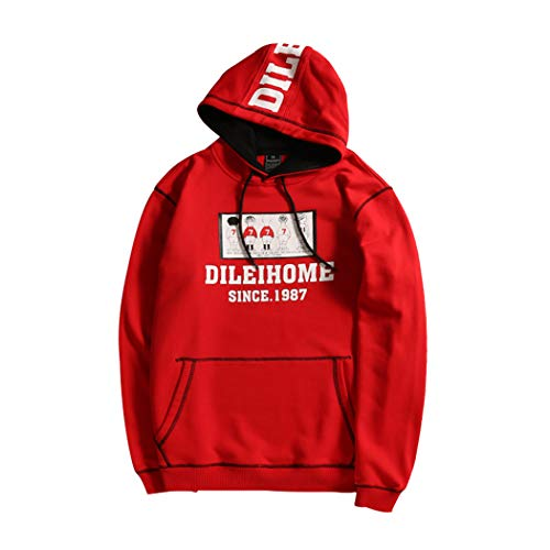 Sports Pullover Lee - Snowman Lee Mens Fleece Pullover Hoodie Skateboard Sweatshirts Printed Fashion Activewear Red XXXL
