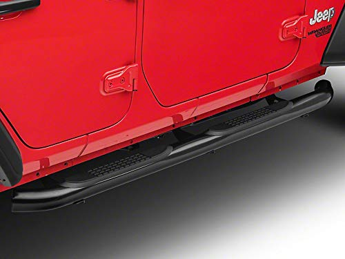 RED ROCK Redrock 4x4 3 in. Round Curved Side Step Bars in Gloss Black - for Jeep Wrangler JL 4 Door 2018-2019