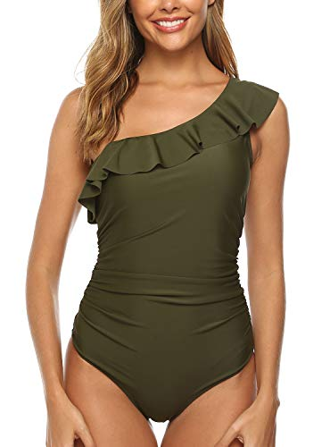 (HONYAR Sexy One Piece Swimsuit, One Shoulder Ruffle Push Up Pads Inserts Bathing Suits for Women Ruched Tummy Control Swimwear (Gift-Waterproof-Case) - L Army Green)