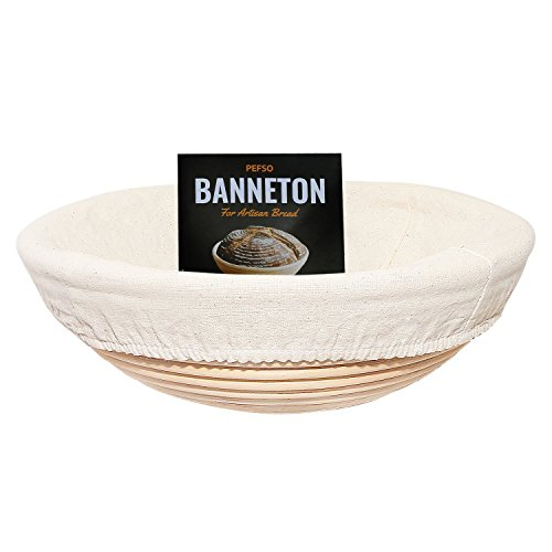 PEFSO 2pcs 9 Inch Round Banneton Rattan Bread Proofing Basket Brotform with Linen Liner clothfor Artisan Sourdough (Oval Cane Handles)