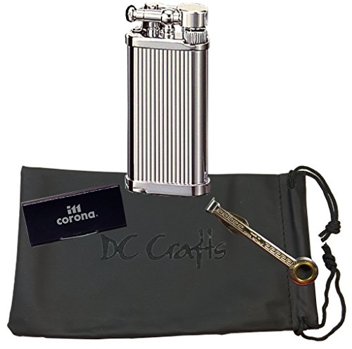 IM Corona Old Boy Pipe Lighter - Includes DC Crafts Pipe Bag, Czech Pipe Tool, & 5 Pack of Flints - (Chrome with Lines)
