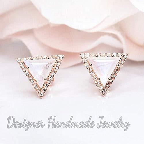 triangle moonstone earrings rose gold vermeil earrings, natural rainbow moonstone and cz gemstone earrings, smooth earrings, spiritual earrings, 925 sterling silver woman's earrings, handmade earrings