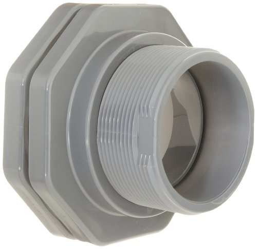 (Hayward BFA1060SES Series BFA Standard Flange Bulkhead Fitting, Socket x Socket End, PVC with EPDM Seals, 6