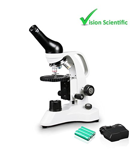 Vision Scientific VME0006-RC Monocular Compound Microscope, 10x WF Eyepiece, 40x—400x Magnification, LED Illumination, Separate Coarse & Fine Focus, Gliding Round Stage, Rechargeable Battery by Vision Scientific