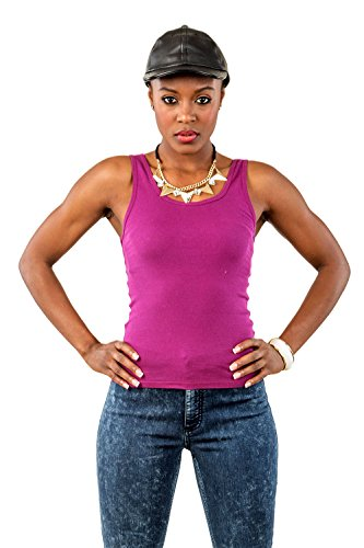 Shirt Rib Basic Tank Top (Poetic Justice Women's Curvy Fit Lavender Stretch Jersey Basic Scoop Neck Tank Top Size Medium)
