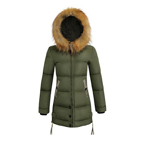 Fiber Outwear Warm Coat Jacket Parka Ladies Green Winter Padded Slim Wawer Women Zipper Army Down Long Hooded qtXx64x8w