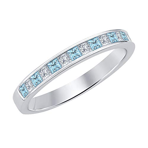 - Gold & Diamonds Jewellery Princess Cut Aquamarine & Diamond .925 Sterling Silver Engagement Wedding Band Ring for Women's
