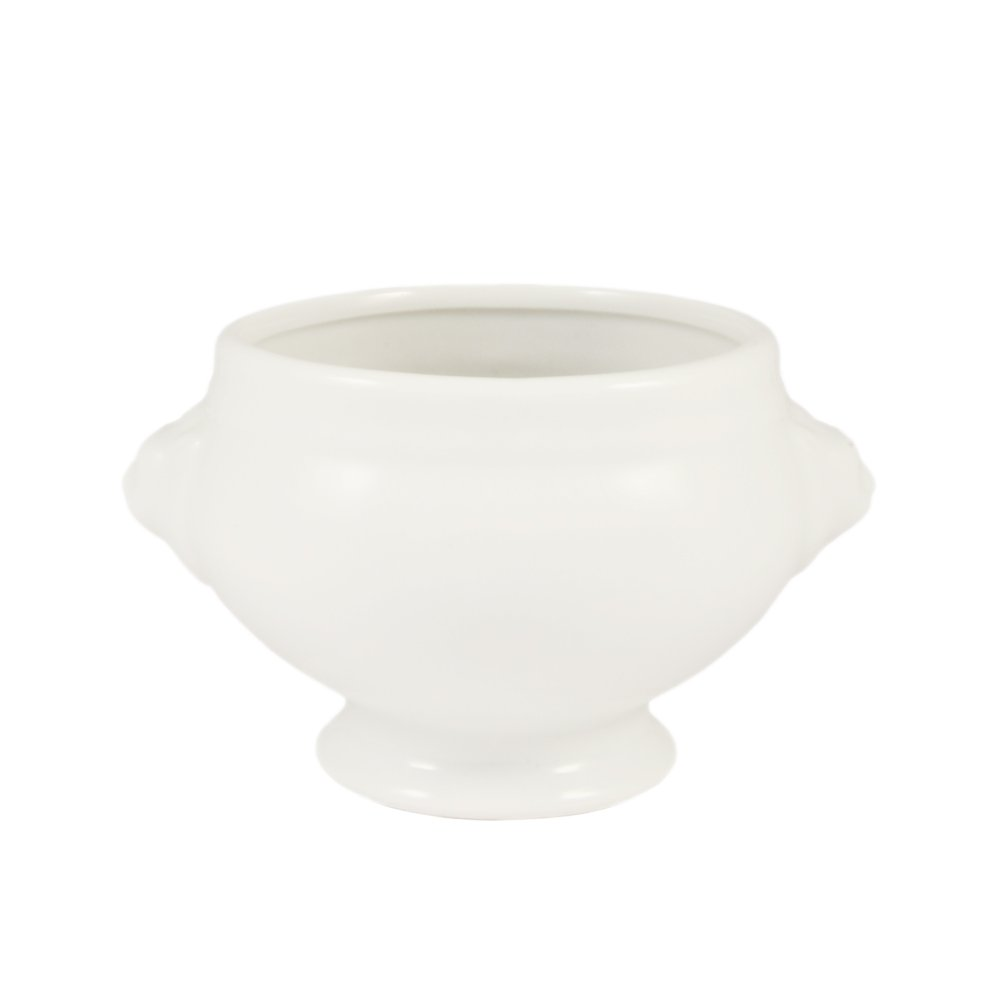 CAC China LN-8-P Lion Head 4-1/2-Inch by 4-Inch by 2-3/4-Inch 8-Ounce Super White Porcelain Lion Head Bouillon, Box of 36