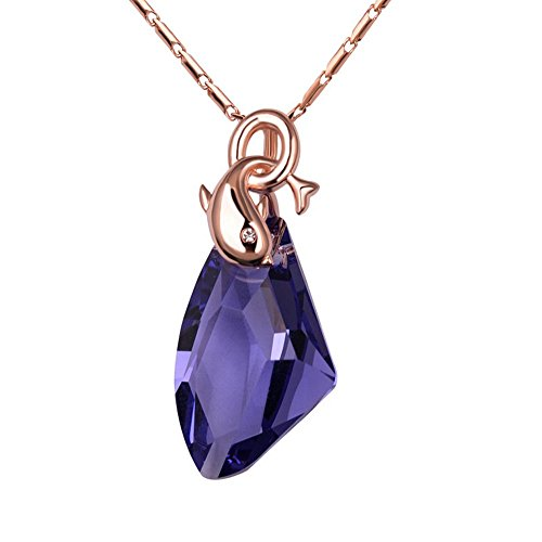 [The Starry Night Aestheticism Crystal Dolphins Lover Champaign Gold Plated Shining Necklace] (Princess Anastasia Halloween Costume)