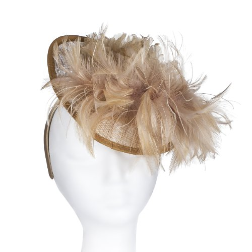 Perfect Wedding Hat, a Great Unusual Fascinator for Any Occasion, Wide Brimmed Fascinators for Weddings, Mother of the Bride or the Races, with a Stunning Feather Boa Swirl & a Large Corsage Satin flower. Extravagant and striking! Four colour options: (Stunning Shell Bracelet)