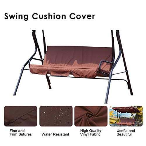 dDanke Patio Swing Cushion Cover Swing Seat Cover Replacement for 3 Seat Swing Chair Dustproof Protection 150X50X10CM, Cover Only (Brown) (Seat Patio Covers Swing)