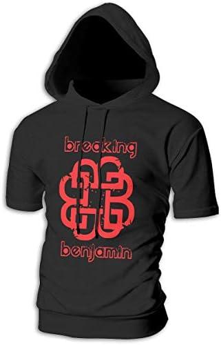 Tシャツ シャツ ティーシャツ スウェットシャツ パーカー ストレッチ メンズ 半袖 フード付き ブレイキング・ベンジャミン スポーツtシャツ 吸汗速乾 トレーニング ジムtシャツ 通気性 黒