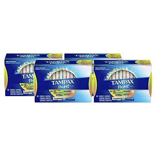 TAMPAX Pocket Pearl, Triplepack (Regular/Super/Super Plus), Plastic Tampons, Unscented, 120 Count  (Packaging May ()