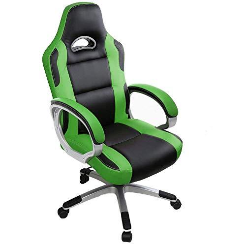 Silla de Videojuegos, ergonomico Oficina PC giratorios de sillas de escritorio for el jugador adultos y ninos con armas (gris) osmlvjj (Color : Green1)