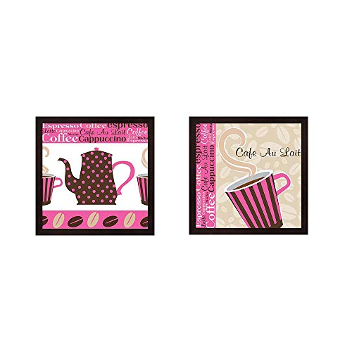Cafe Au Lait Cocoa Punch by ND Art & Design, 2 Piece Mahogany Framed Art Set, 13 X 13 Inches Each, Kitchen Art