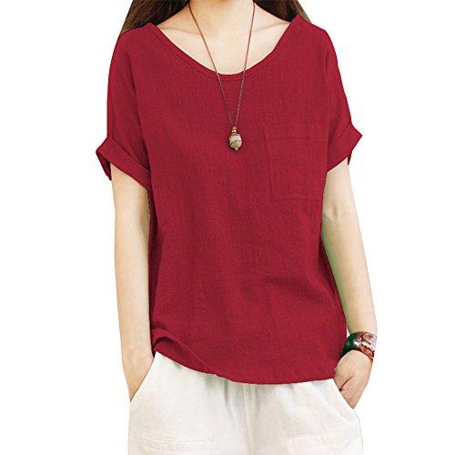 Plaine Chemisier Dcontracte Femme Shirt Taille T Grande Rond Rouge en Chemise Tops Col Vrac 00Pax8