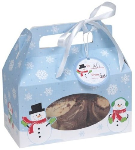 Creative Converting Cookie Box with Carry Handle, Snowman, 4 Boxes Per - Holiday Cookie Box