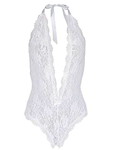 Amilia Sexy Lingerie Deep V Neck Lace Halter Open Crotch One Piece Teddy Nighty (X-Large, white) - Open Crotch Teddy