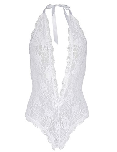 - Amilia Sexy Lingerie Deep V Neck Lace Halter Open Crotch One Piece Teddy Nighty,Medium,White