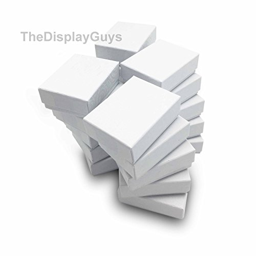 The Display Guys Pack of 25 Cotton Filled Cardboard Paper White Jewelry Box Gift Case (2 1/8x1 5/8x3/4 inches #11)