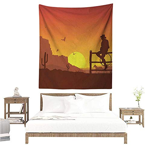 Meikxf Western DIY Tapestry Silhouette of Cowboy in Wild West Sunset Scene American Culture Image Artsy Print Occlusion Cloth Painting 57W x 74L INCH Burnt Orange ()