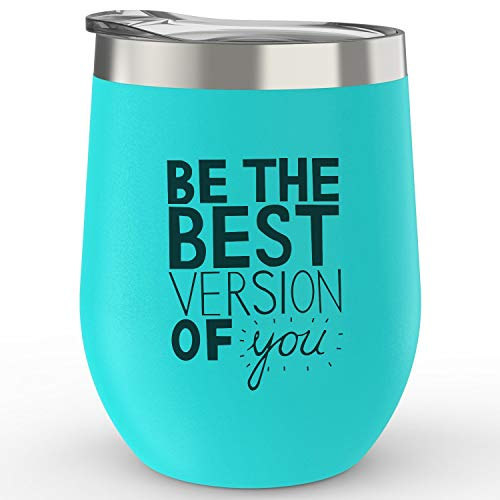 BE THE BEST VERSION OF YOU - Keepax Stainless Steel Stemless Wine Glass Tumbler 12 oz - Double Wall Vacuum Insulated Wine Tumbler (Caribbean Green-Word, 12OZ/350ML) ()