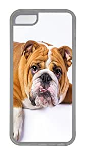 Wholesale iPhone 5C Case, iPhone 5C Cases -Lazy English Bulldog TPU Rubber Soft Case Back Cover for iPhone 5C¡§CTransparent