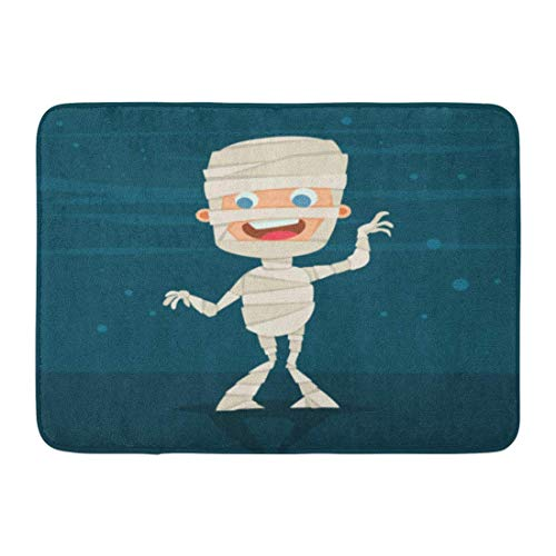 qingqing-us Bath Mat Halloween Kids Costume of Cute Mummy on Blue Abstract Cartoon Flat Children Character for Holiday Bathroom Decor Rug 15.7