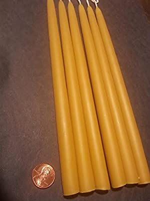 """6 Organic Beeswax Taper Candles 8"""" Tall X 1/2"""" Thick"""